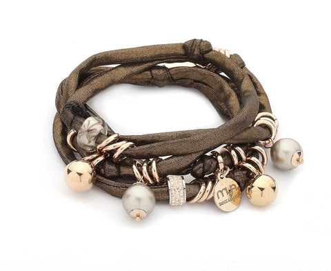 Related product : Bracciale in lycra bronzo con pietre dure color platino