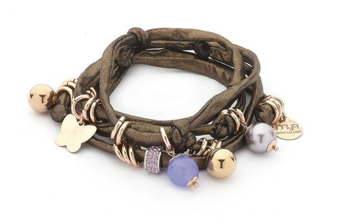 Related product : Bracciale in lycra bronzo con pietre dure color giada