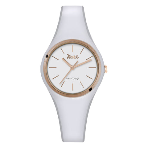 Related product : Orologio donna in silicone anallergico bianco e ghiera rosata