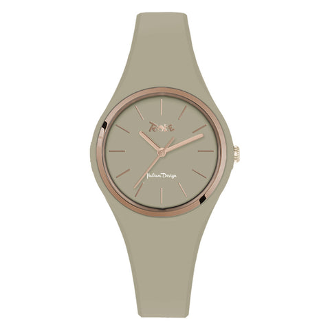 Related product : Orologio donna in silicone anallergico taupe e ghiera rosata
