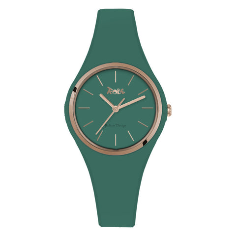 Related product : Orologio donna in silicone anallergico salvia e ghiera rosata