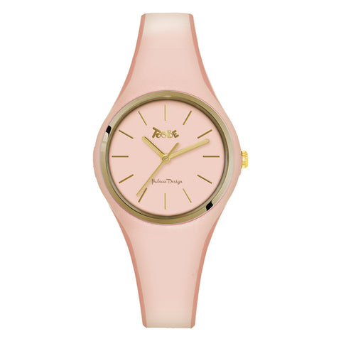 Related product : Orologio donna in silicone anallergico rosa cipria e ghiera dorata