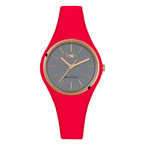 Related product : Orologio donna in silicone anallergico rosso fragola e ghiera rosata