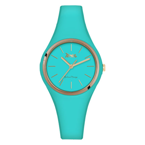 Related product : Orologio donna in silicone anallergico azzurro e ghiera dorata