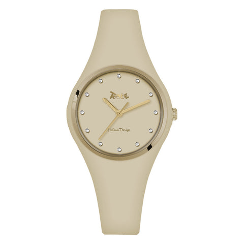 Related product : Orologio donna in silicone anallergico beige ed indici in Swarovski