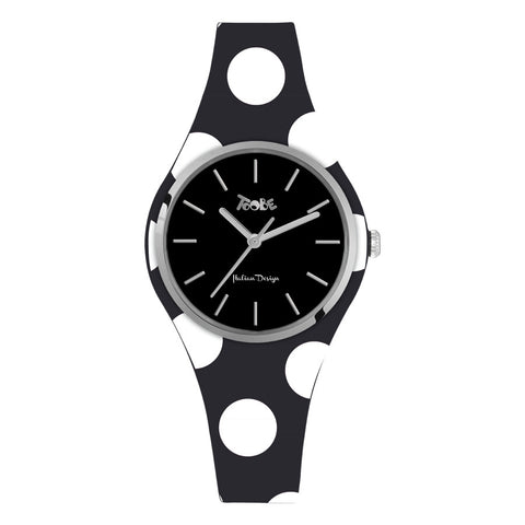 Related product : Orologio donna in silicone anallergico nero con pois bianchi