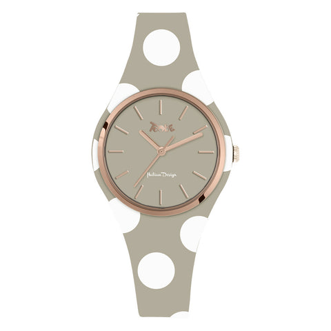 Related product : Orologio donna in silicone anallergico taupe con pois bianchi
