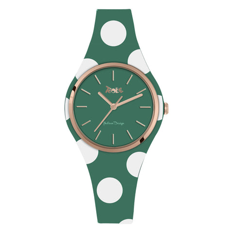Related product : Orologio donna in silicone anallergico verde con pois bianchi