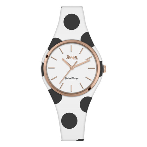 Related product : Orologio donna in silicone anallergico bianco con pois neri
