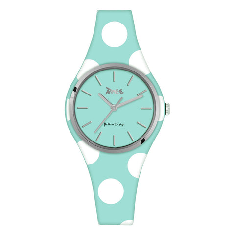 Related product : Orologio donna in silicone anallergico celeste con pois bianchi
