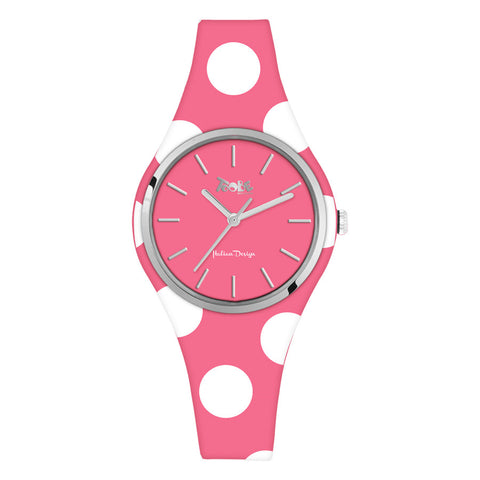 Related product : Orologio donna in silicone anallergico fucsia con pois bianchi