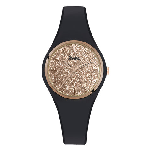 Related product : Orologio donna in silicone anallergico nero con quadrante in glitter rosato