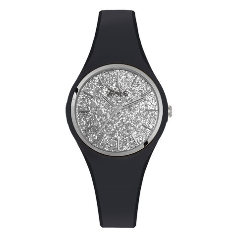 Related product : Orologio donna in silicone anallergico nero con quadrante in glitter argentato