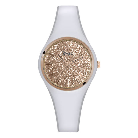 Related product : Orologio donna in silicone anallergico bianco con quadrante in glitter rosato