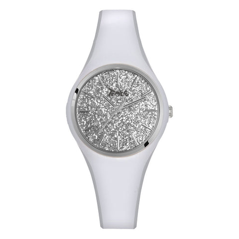 Related product : Orologio donna in silicone anallergico bianco con quadrante in glitter argentato