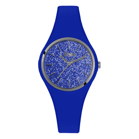 Related product : Orologio donna in silicone anallergico blu elettrico con quadrante in glitter argentato