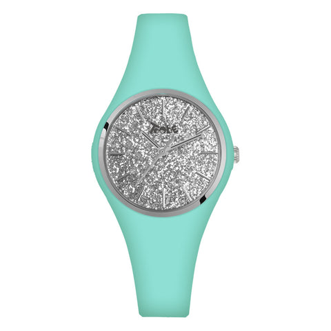 Related product : Orologio donna in silicone anallergico celeste con quadrante in glitter argentato