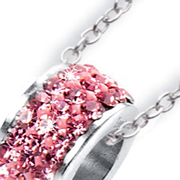 Collana con passante in strass rosa shocking