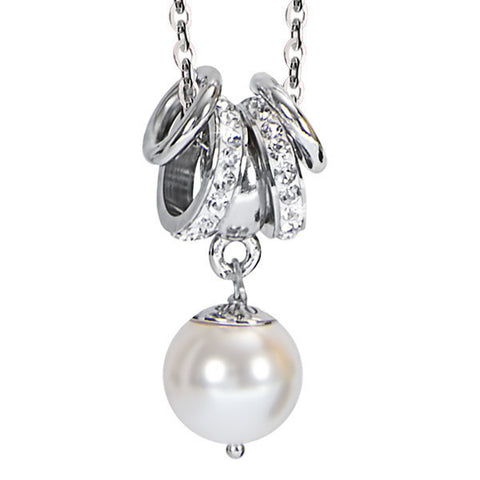 Related product : Collana con perla Swarosvki bianca e strass bianchi
