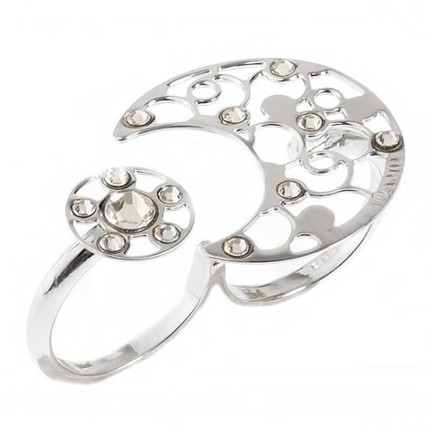 Related product : Anello doppio con decoro rugiada e cristalli crystal