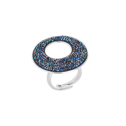 Anello regolabile con superficie in Swarovski crystal rock bermuda blu