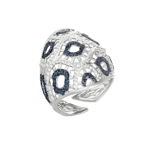 Anello con decoro in glitter bicolor alternato