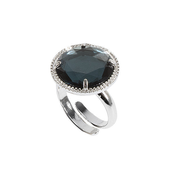 Anello regolabile con cristallo blu London