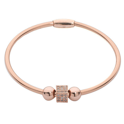 Related product : Bracciale rigido placcato oro rosa con passante cubico in zirconi