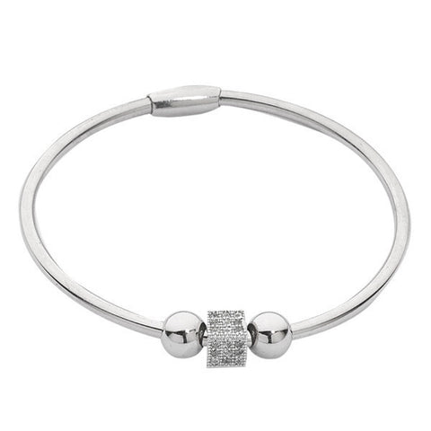 Related product : Bracciale rigido rodiato con passante cubico in zirconi