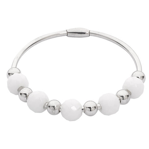 Related product : Bracciale rigido rodiato con giada avorio