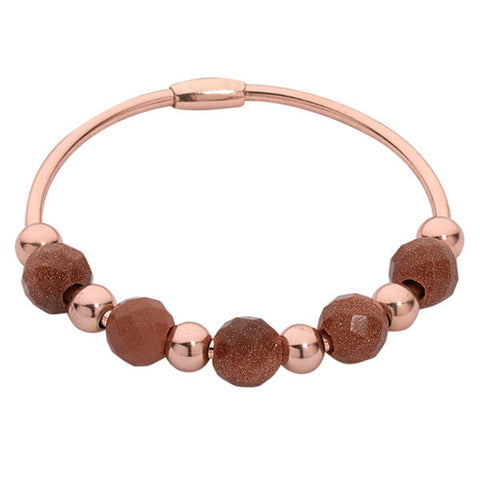 Related product : Bracciale rigido placcato oro rosa con pietre di sole