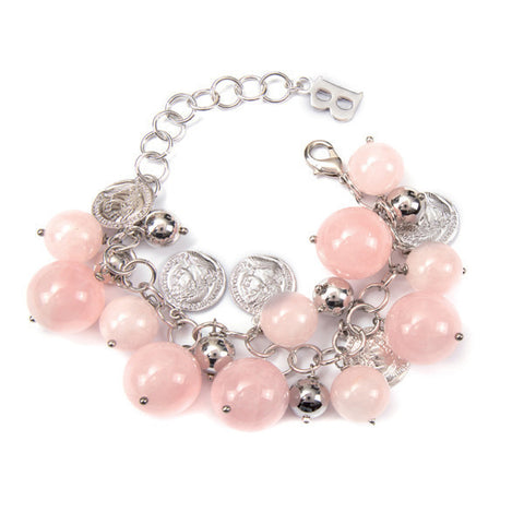 Related product : Bracciale con pietre dure di quarzo rosa e monetine portafortuna