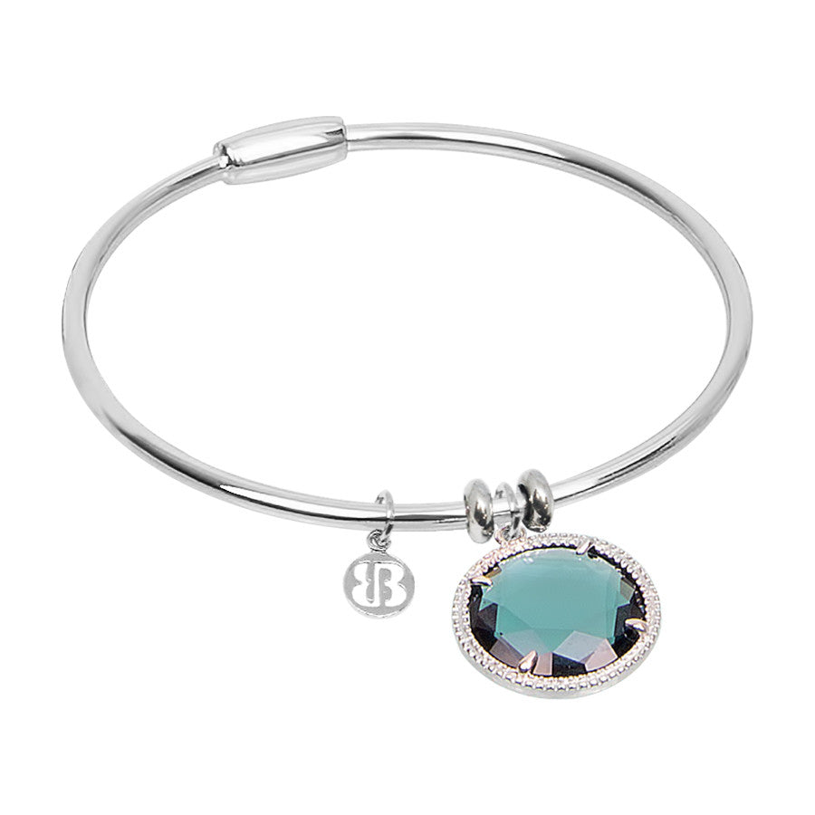 Bracciale rigido con cristallo color blu London