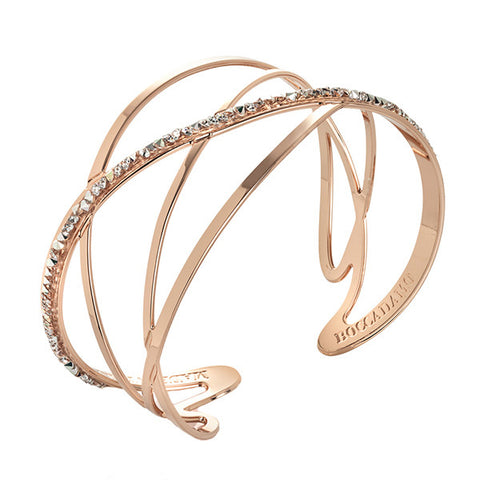 Bracciale rigido rosato con decoro in Swarovsky crystal rock crystal