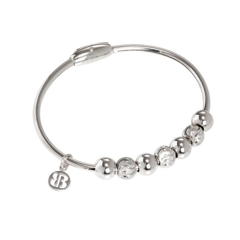 Related product : Bracciale rodiato con sfere lisce e diamantate effetto onda