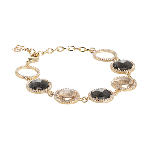 Related product : Bracciale con cristalli champagne, smoky quartz e zirconi