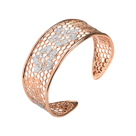 Related product : Bracciale rigido rosato con decoro floreale in glitter silver