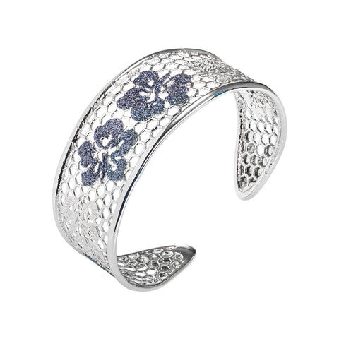 Related product : Bracciale rigido con decoro floreale in glitter black