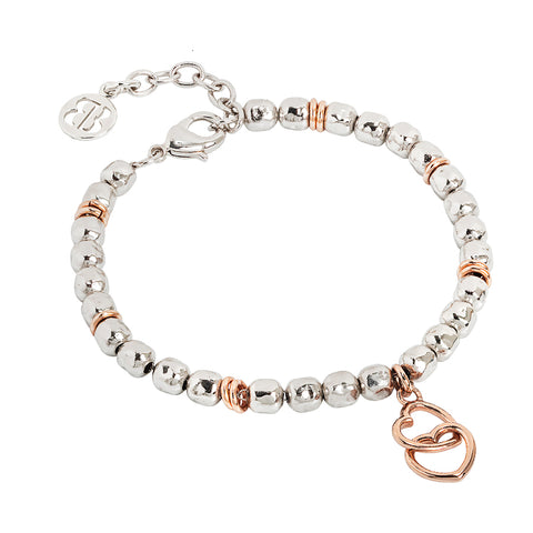 Related product : Bracciale beads con due cuori rosati