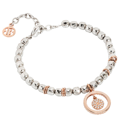 Related product : Bracciale beads con cerchio rosato e zirconi