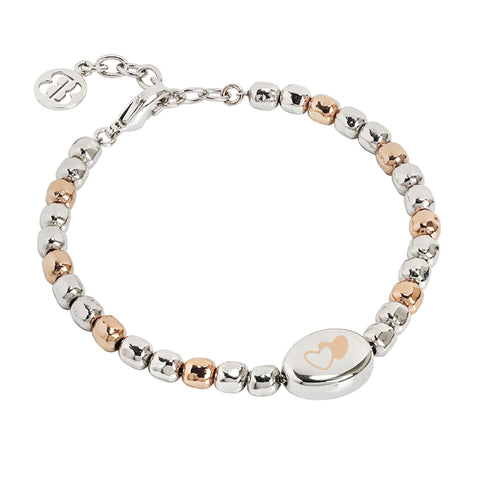 Related product : Bracciale beads bicolor con doppio cuore laserato