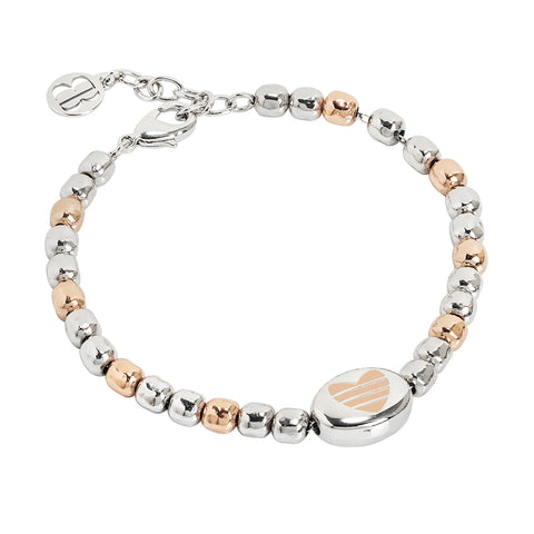 Related product : Bracciale beads bicolor con cuore laserato