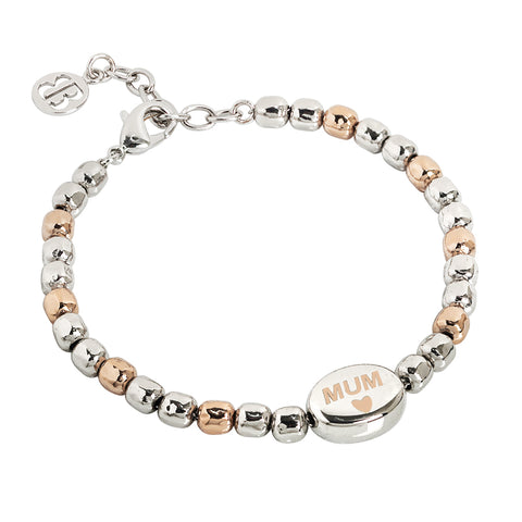 "Related product : Bracciale beads bicolor con scritta ""Mum"" laserata"