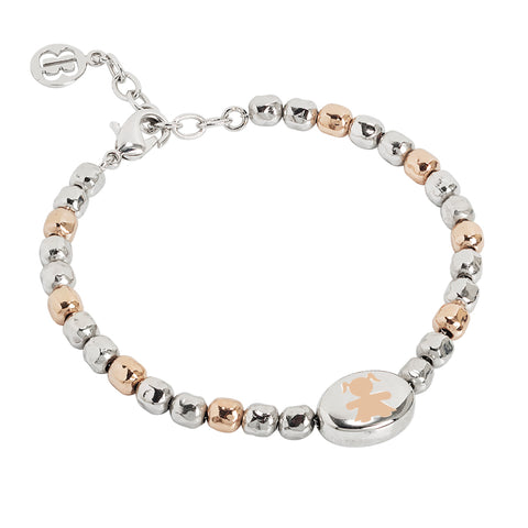 Related product : Bracciale beads bicolor con bimba laserata