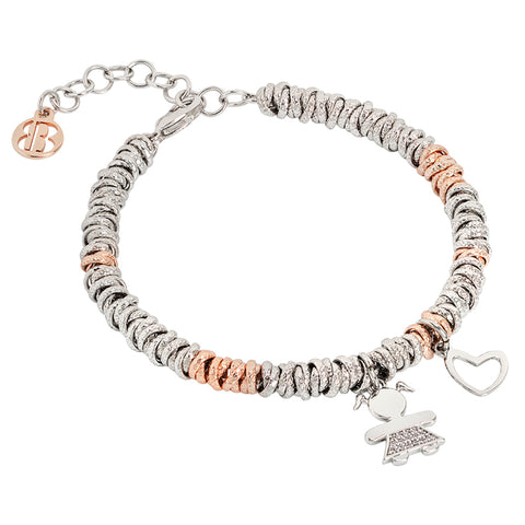 Related product : Bracciale bicolor con bimba zirconata e cuore