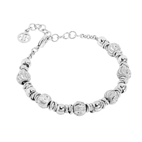 Related product : Bracciale con sfere rodiate e diamantate effetto onda