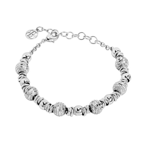 Related product : Bracciale rodiato con magliette codronate e sfere diamantate