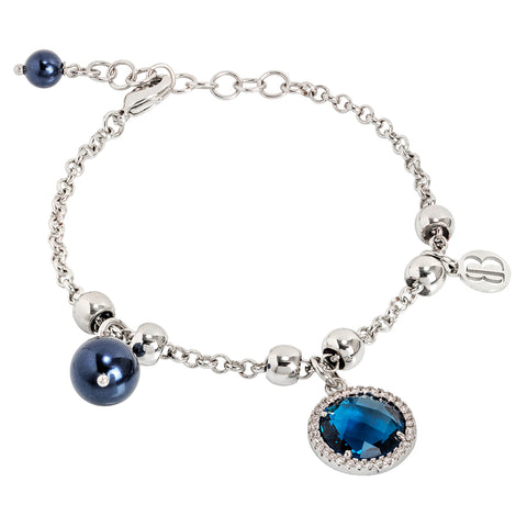 Related product : Bracciale con perle Swarovski night blu e cristallo blu London