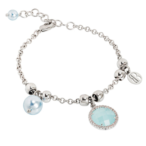 Related product : Bracciale con perle Swarovski light blu e cristallo verde acqua