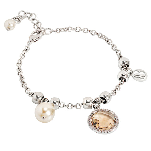 Related product : Bracciale con perle Swarovski light gold e cristallo champagne